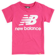 New Balance Youth Essentials Stacked Logo Tee, Carnival