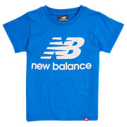 New Balance Youth Essentials Stacked Logo Tee, Vivid Cobalt