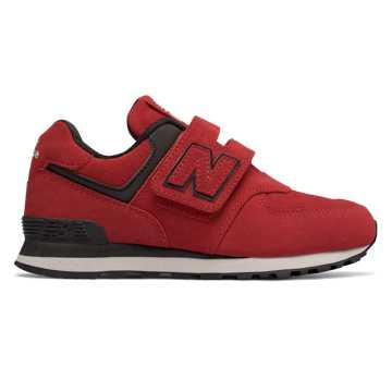 New Balance 574系列兒童經典休閑運動鞋, 紅色