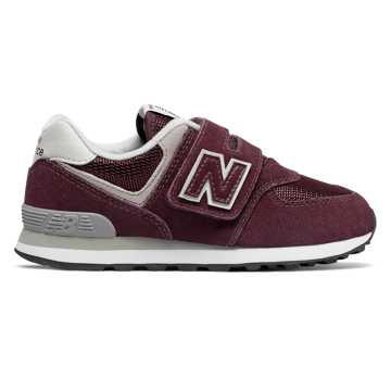 New Balance Hook and Loop 574 Core, Burgundy with Grey