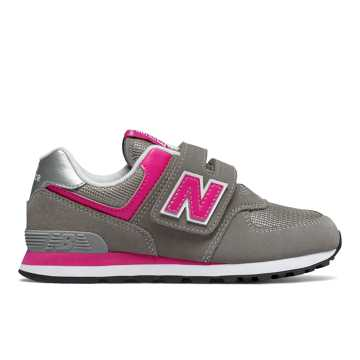 New Balance Hook and Loop 574 Core, Grey with Pink