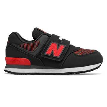 New Balance 574系列儿童经典休闲运动鞋 魔术贴搭袢款, 黑色